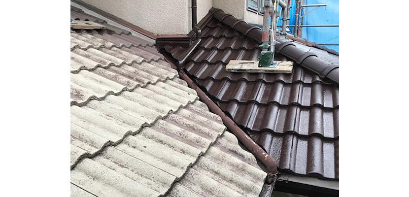 屋根塗装の塗装後部分と塗装前部分の比較